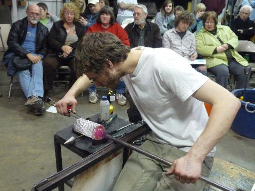 Glassblower.Info - BCCC Glass Arts Society - Spring 2011 - Guest Glass Artist Nikolaj Christensen - Reticello Bowl - 068