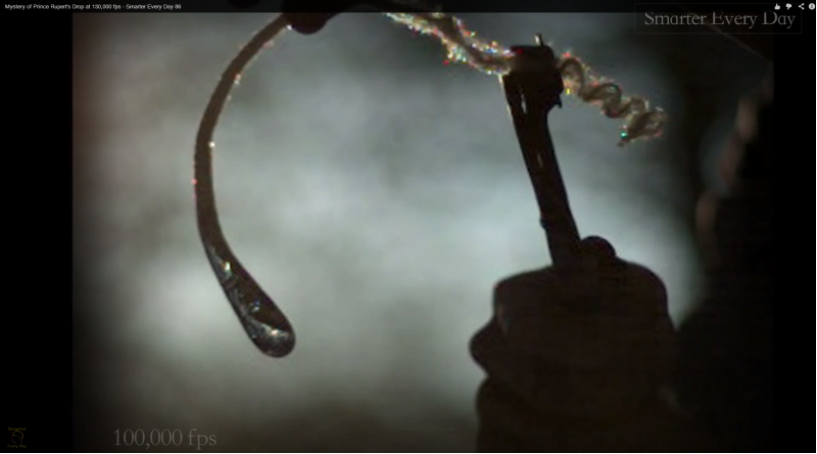 Glassblower.info - Prince Rupert Drop video on Youtube at 130,000 fps #1