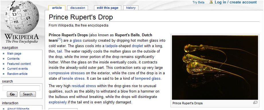 Glassblower.info - Prince Rupert's Drop and Glass Stress - Web Pages and Videos